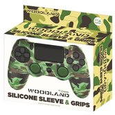 Silicone-Skin-+-Grips-Camo-Woodland-voor-PS4
