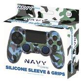 Silicone-Skin-+-Grips-Camo-Navy-voor-PS4