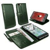 Tuff-Luv-Vintage-Genuine-Leren-portemonnee-Case-Apple-iPhone-8-Plus-met-screenprotector-Groen