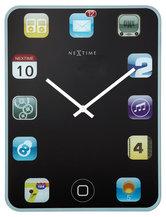 NeXtime-NE-3022-Wandklok-40x30cm-Glas-Zwart-Wall-Pad